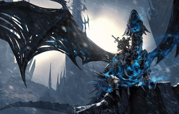 Picture World of Warcraft, fantasy, Lich King, game, Warcraft, rain, armor, wings, dragon, weapons, digital art, …
