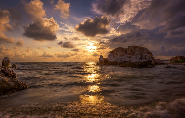 Picture the sky, sunset, coast, beauty