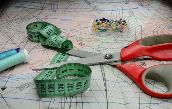 Picture scissors, seamstress, light brush, pattern