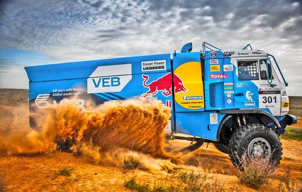 Photo wallpaper Sand, Auto, Sport, Machine, Truck, Master, rally, Kamaz, Rally, Dakar, Dakar, Rally, KAMAZ, RedBull, Master, ...