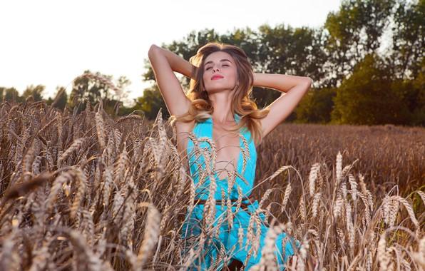Picture Girl, Field, Model, Lips, Face, Dress, Brunette, Wheat, Sexy, Figure, Beautiful, Sweetheart, Millet, Cutie, Cara, …