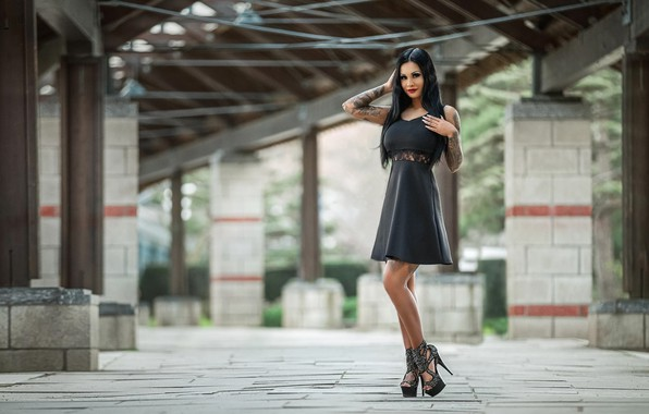 Picture girl, dress, brunette, tattoo, shoes, Free-Media