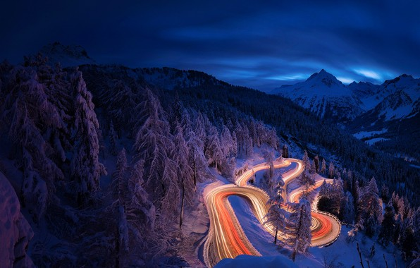 Picture winter, road, forest, light, snow, mountains, night, the evening, excerpt