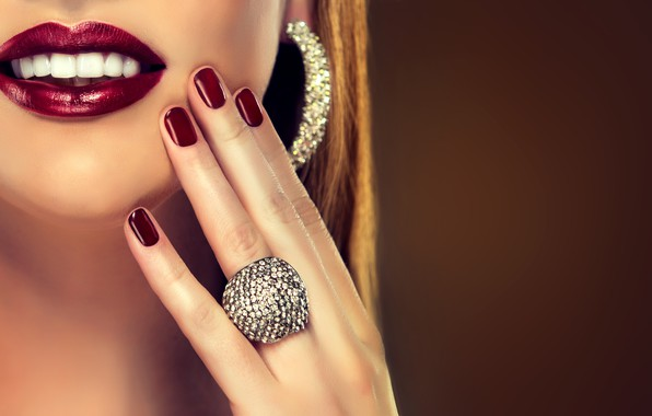 Picture girl, face, hand, makeup, lipstick, ring, lips, lips, manicure, nail, make-up