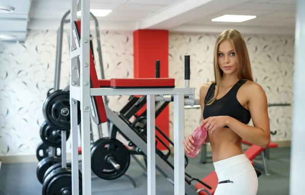 Picture water, girl, bottle, makeup, Mike, figure, slim, hairstyle, sports, hall, fitness, training, simulators, brown hair