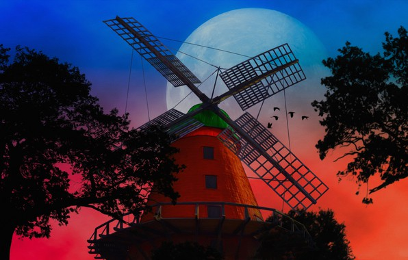 Picture trees, collage, The moon, silhouette, windmill