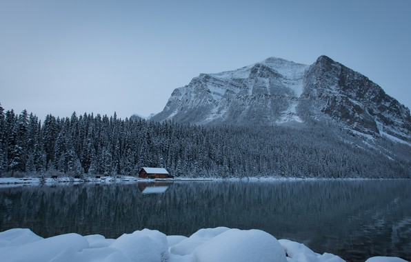 Picture winter, forest, snow, mountains, lake, Canada, the snow, Albert, house, Banff National Park, Alberta, Lake …