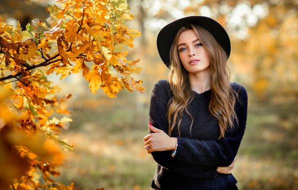 Picture girl, long hair, hat, photo, brown, blue eyes, autumn, leaves, model, mood, lips, face, fall, …