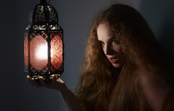 Picture girl, face, hair, lamp