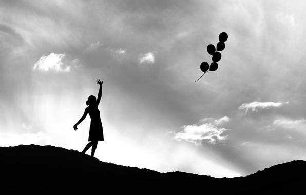 Picture girl, balls, silhouette, flight