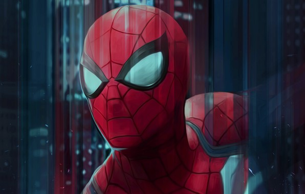 Picture red, figure, art, costume, superhero, Spider-man, Spider-Man, Peter Parker