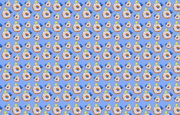 Picture white, blue, yellow, food, The simpsons, large, Homer, donut, brown, bites, eating, Homer Simpson