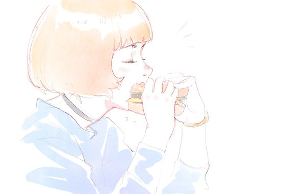 Picture haircut, hands, white background, profile, red, sandwich, bangs, closed eyes, portrait of a girl, snack, …