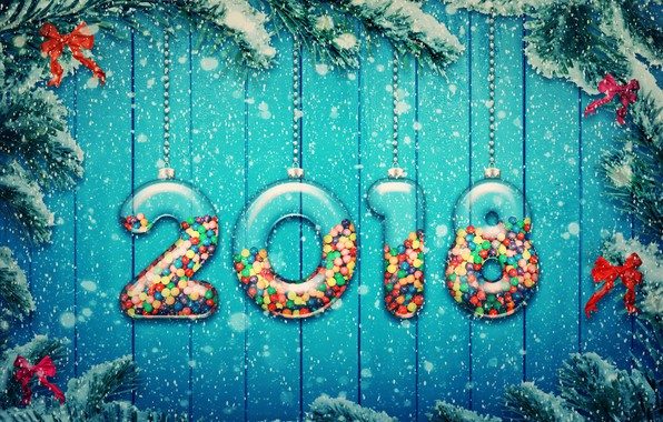 Picture snow, decoration, tree, New Year, snow, 2018, New Year, candy, decoration, Happy