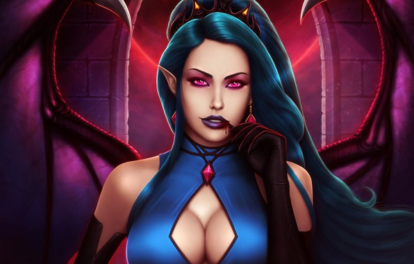 Picture chest, look, blood, wings, dress, art, lips, vampire, evelyn