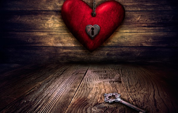 Picture red, heart, Board, key, chain, twilight, Valentine's day, keyhole