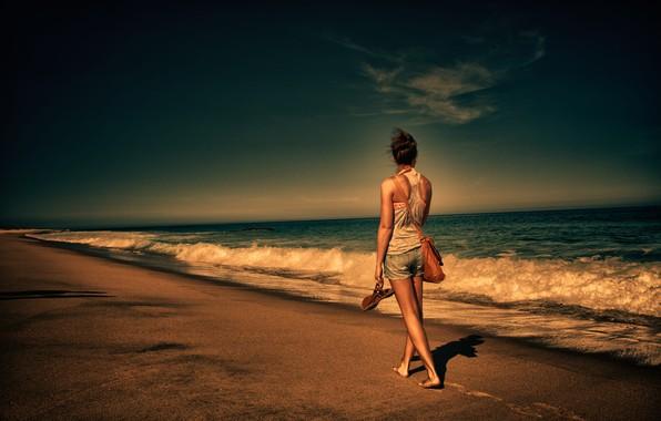 Picture sea, girl, coast, back, bag