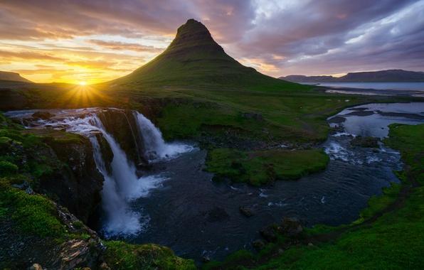Wallpaper the sun, waterfalls, Iceland, Kirkjufellsfoss, mountain Kirkjufell