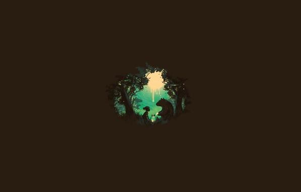 Picture forest, light, trees, bear, girl, Bank, girl, trees, the edge