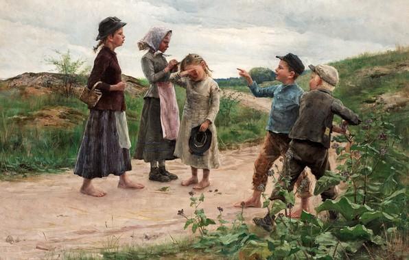 Picture 1885, Swedish artist, Fanny Brother, Swedish painter, Teasers, Teasing children, Fanny Ingeborg Matilda Fry, Fanny …