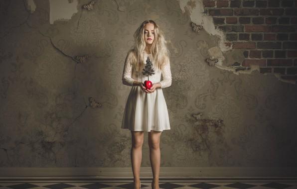 Picture girl, fantasy, tree, Apple, dress, Butterfly Dreams, Petri Damstén