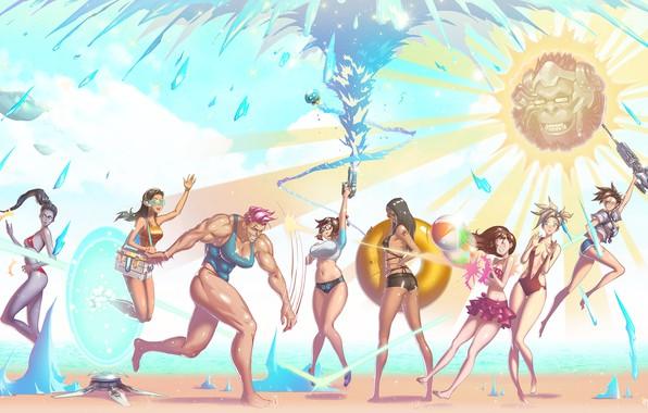 Picture beach, swimsuit, summer, water, girls, Mei, Overwatch, Tracer, Widowmaker, Lena Oxton, Amélie Lacroix, Mercy, Pharah, …