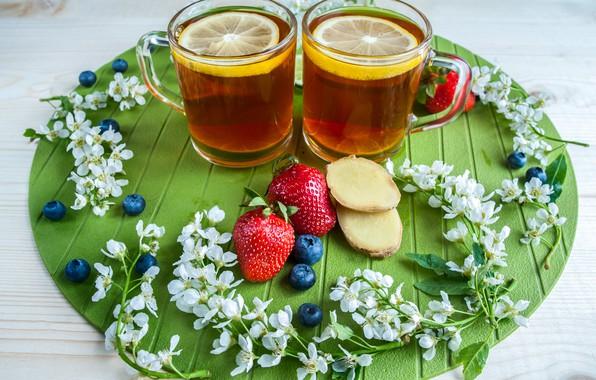 Picture berries, lemon, tea, blueberries, strawberry, Cup
