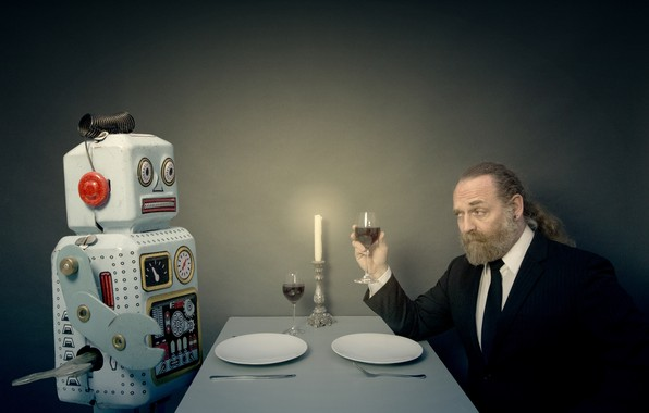 Picture people, robot, lunch