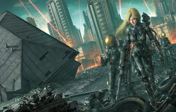 Picture the city, house, fiction, war, robot, art, blonde, destruction, ruins, cyborg, Tan Only