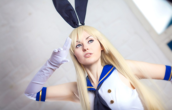 Picture pretty, cosplay, blonde, sofa, pose, rabbit ears, Kantai Collection, Shimakaze