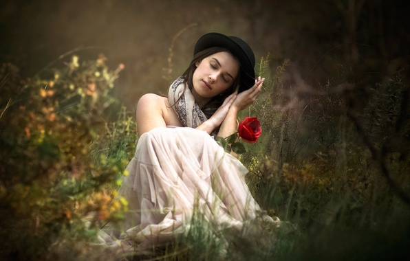 Picture flower, grass, girl, mood, rose, hat, bowler