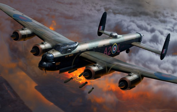 Picture Painting, Bombs, The second World war, WW2, British, Royal Air Force, Avro 683 Lancaster, heavy …