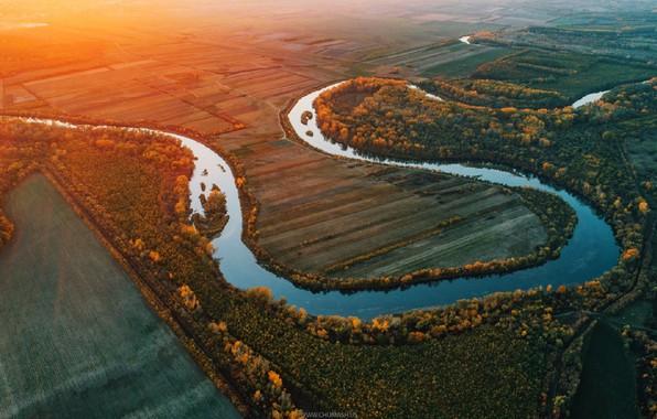 Picture autumn, river, sunrise, drone, Moldova, Rod