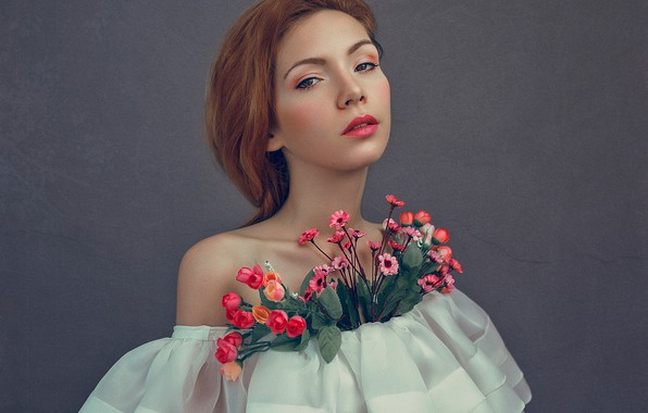 Picture look, girl, flowers, face, mood, portrait, makeup, neckline, flounce