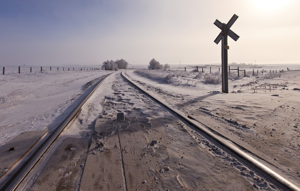 Picture winter, road, snow, railroad