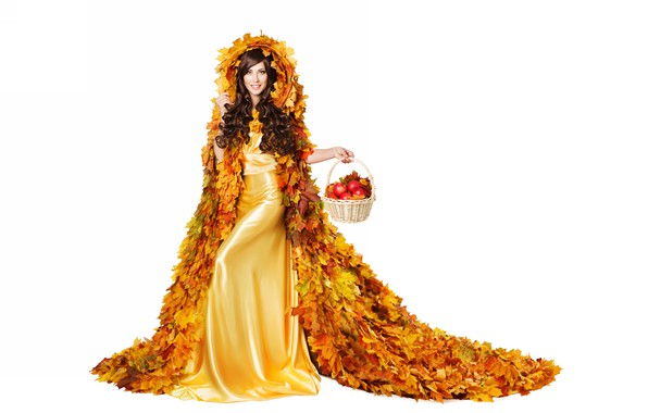 Picture autumn, leaves, girl, apples, dress, basket