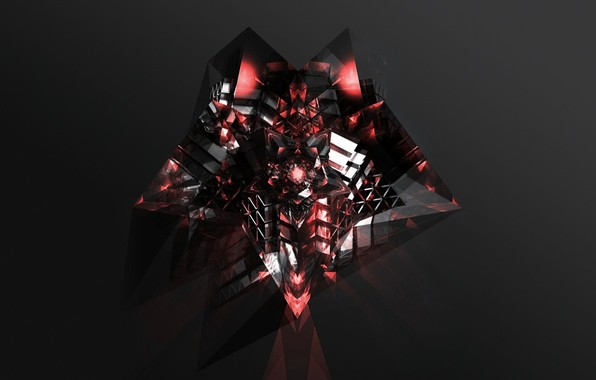 Picture crystal, rendering, fiction, black background, flickering, light and shadow, dark red