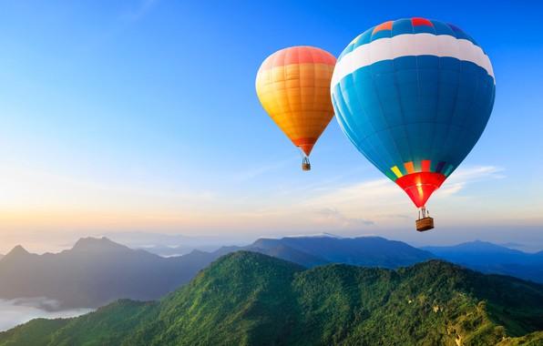 Picture clouds, landscape, mountains, balloon, travel, basket, haze, adventure