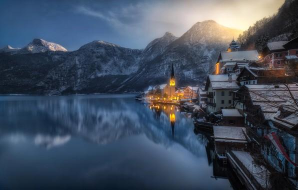 Picture light, mountains, the city, lake, Austria, the village