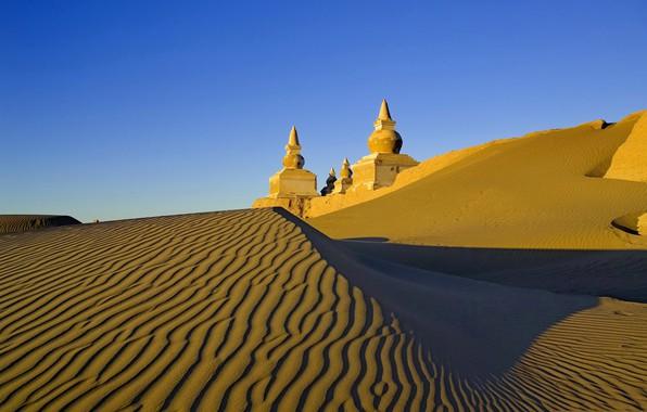 Picture sand, the sky, castle, desert