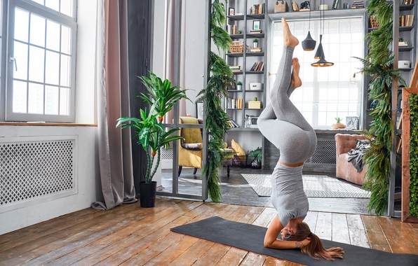 Picture girl, pose, room, Mike, figure, yoga, Mat, brown hair, fitness, stand, leggings, flexible, on the …