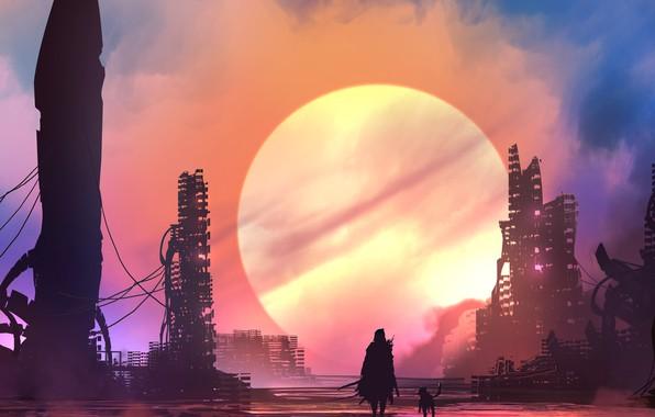 Picture city, future, sword, fantasy, weapon, Sun, sunset, science fiction, dog, man, sci-fi, ruins, digital art, …