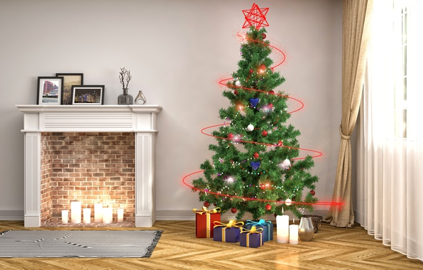 Picture balls, lights, rendering, room, holiday, toys, candles, window, gifts, New year, Mat, tree, fireplace, blind, …
