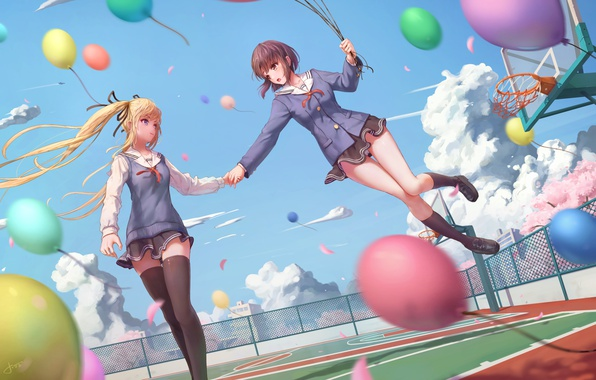 Picture the sky, clouds, girls, balls, anime, Sakura, form, Schoolgirls, Playground, catholic megumi, saenai heroine from …