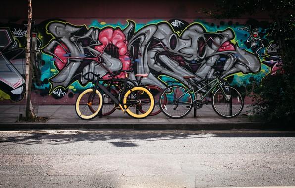 Picture road, bike, wall, street, graffiti, hdr, ultra hd