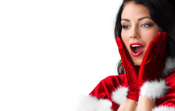 Picture girl, joy, new year, surprise, makeup, brunette, hairstyle, white background, gloves, maiden, fur, in red, …