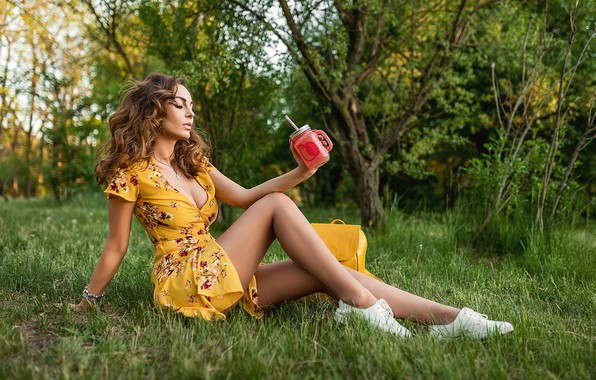 Picture greens, trees, model, sneakers, makeup, figure, dress, hairstyle, cocktail, brown hair, bag, legs, sitting, on …
