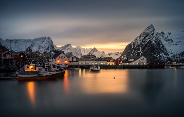 Picture winter, sea, snow, sunset, mountains, lights, coast, home, boats, pier, Norway, boats, Norway, The Lofoten …