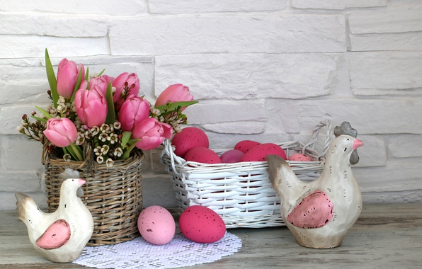 Photo wallpaper flowers, Easter, happy, flowers, tulips, spring, Easter, eggs, decoration, pink tulips, the painted eggs