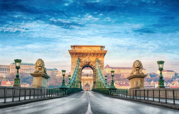 Picture summer, the city, blur, bokeh, view, Hungary, Hungary, suspension bridge, Budapest, travel, Budapest, Széchenyi chain …